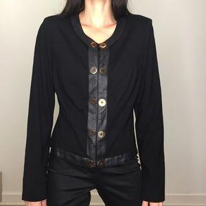 CAbi Black Faux Leather Cardigan Blazer Jacket